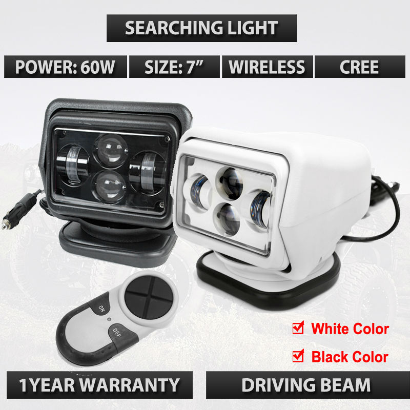 10-30V 7 60W Led Remote control Searchlight 7inch Spot LED Work searching Light for TRUCK SUV BOAT MARINE Remote control light