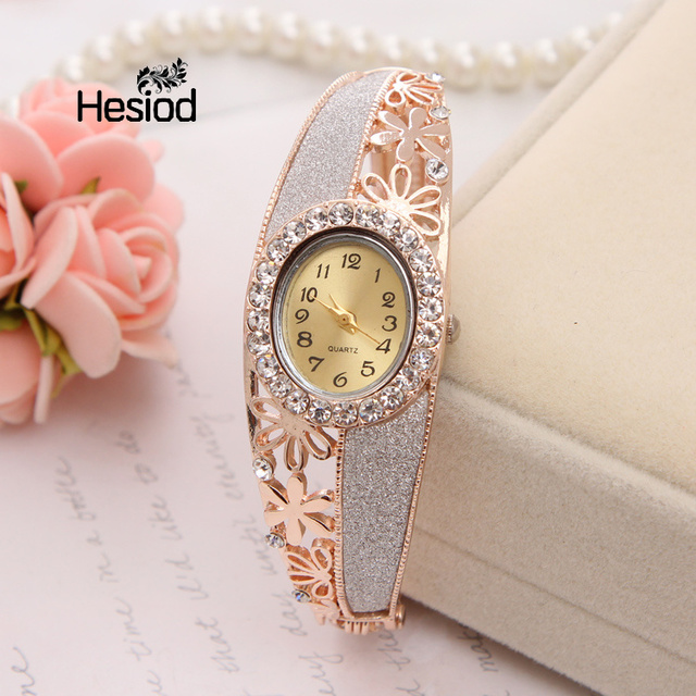 Hesiod Luxury Rhinestone Watch Gold Color Hollow Bracelet Quartz Watch Women Dre