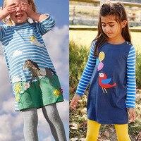100 Cotton Baby Girl Dresses Striped Animal Pattern Dresses Girls Deer Duck Horse Leisure Clothes Children