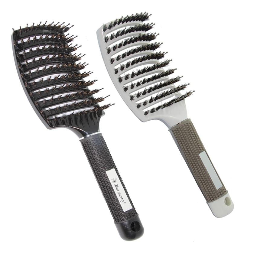 Jabón de cerdas antiestáticas de jabalí cepillo de pelo para el peinado del cabello a prueba de calor Masaje del cuero cabelludo Peine con mango de goma Cepillo de salón