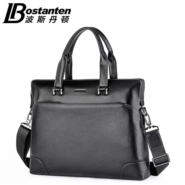 2015 Luxury Genuine Leather BOSTANTEN Black Real Leather Men Messenger Bags Briefcase Handbags Laptop Computer Bag