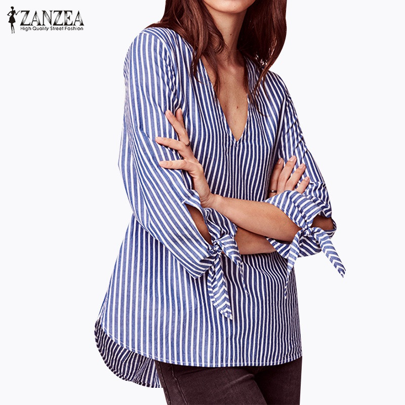 ZANZEA 2018 Women Sexy V Neck Blue Loose Elegant Blouse Shirts Puff Sleeve Long Tops Striped Shirt Plus Size Blusas Femininas