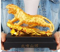 Tiger lucky furnishings office of the Chinese zodiac tiger decoration home furnishings opening arts gold plated Animal resin