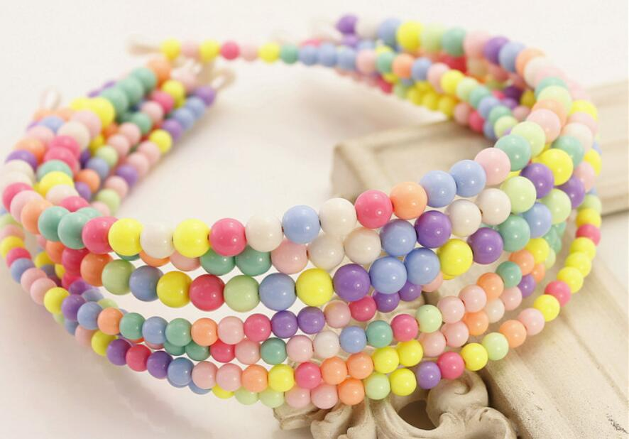 20pcs Candy color rainbow beads hair band woman girl Lady headbands hair  hoop hair Accessories Kids Basic head band FJ3126 b917204d3b2