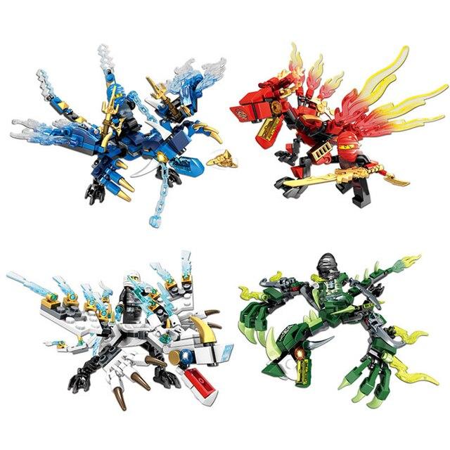 Pequenos Tijolos DIY Blocos de Construção de Brinquedos Para Meninos Amigos Ninja Dragon Knight Série Compatível Com Legoing Construção