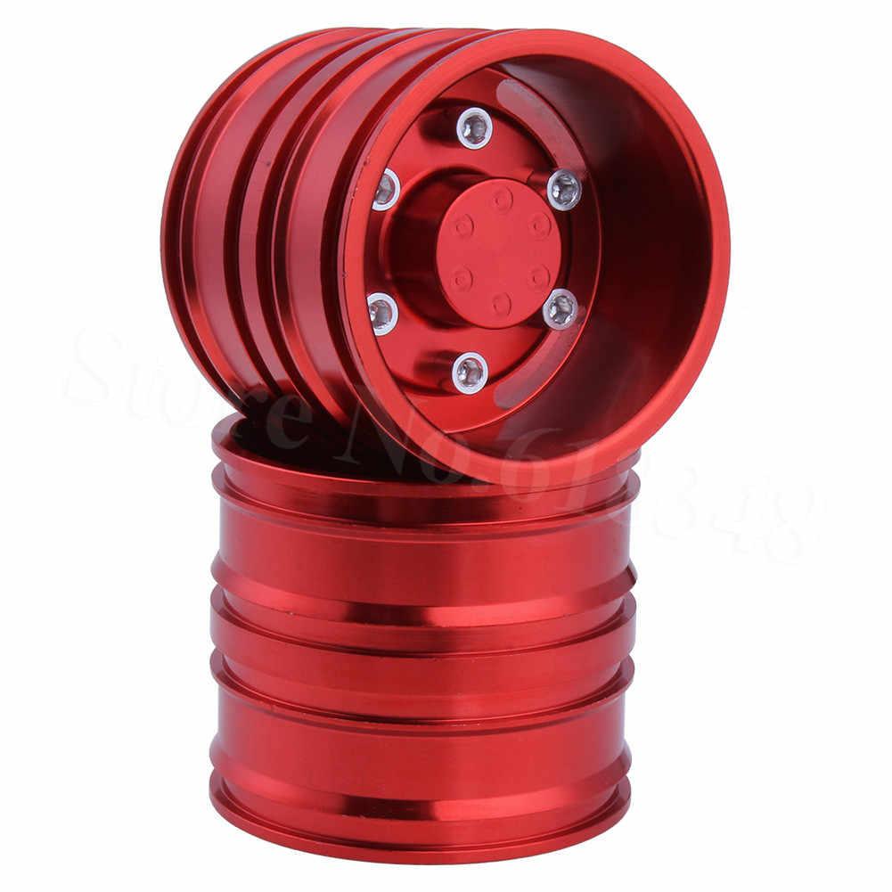 2 Pcs/lot Twin Roda Aluminium Roda untuk Tembaga Hellenic 1/14 RC Tractor Trailer Ban
