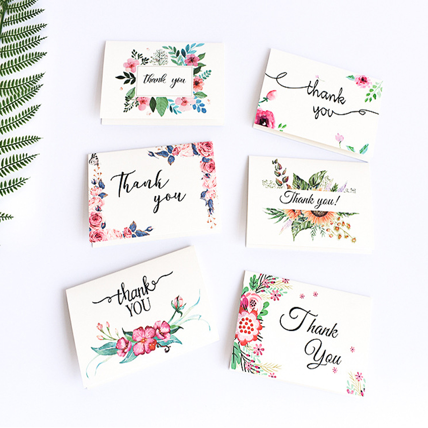 6pcs/set Thank You Cards Flowers Small Cards Party Invitation Greeting Card Birthday Gift Message Cards