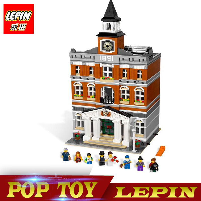 New Lepin 15003 Creators series the town hall model Building Blocks set compatible legoed 10224 classic house Architecture toy 2016 new lepin 21005 creator series the emerald night model building blocks set classic compatible legoed steam trains toys