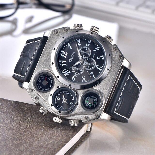 Oulm Новинка 1349 года спортивные часы для мужчин супер большой циферблат мужской Кварцевые часы декоративные Термометр компасы Роскошные