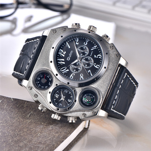 Image 1 - Oulm 1349 New Sport Watches Men Super Big Large Dial Male Quartz Clock Decorative Compass Luxury Mens Wrist Watch