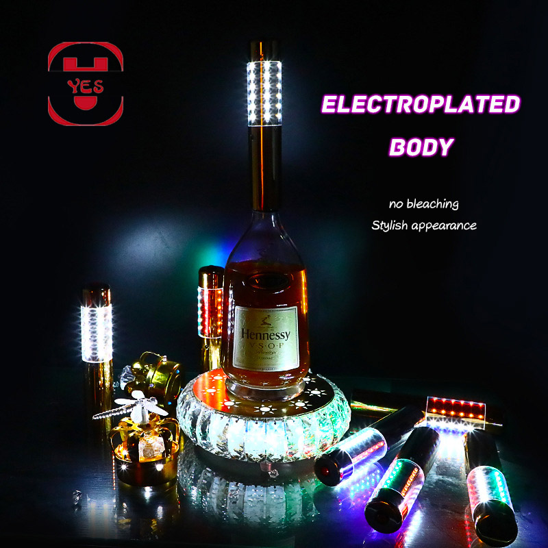 YES Colorful LED Lights Champagne Luminescent Stick Sparklers  Bottle Flash Strobe Rod Champagne Stopper Bar/KTV/party Wine PropsGlow  Party Supplies