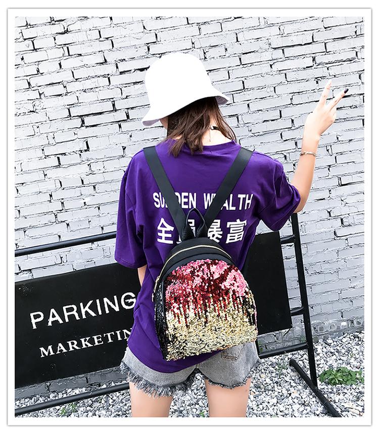 Backpacks women Korean mini 2018 new sequined shell fashion trend women go with small backpacks travel backpack 79
