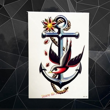Big Size Anchor Flash Metallic Temporary Tattoo Flying Birds One Piece Designs 21x15CM Men Women Large Body Art Tatoo Sleeves