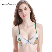 Thin steel pineapple embroidered applique bralette bra soft double layer gauze sexy underwear Ultrathin lingerie bras for women