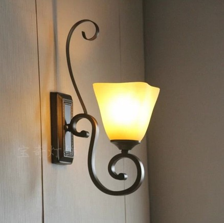 American Rustic Wall Lamp Background Light Wrought Iron Wall Lamp Bedroom Lamp  Living Room Wall Lamp
