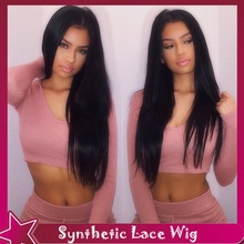 Silky Straight Hair Wigs Synthetic Lace Front Wig Natural Wigs Heat Resistant No Lace Fiber Black Hair Glueless For Black Women