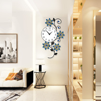 Flower Crystal Wall Clocks Modern Design Peacock 3D Large Clock Wall Watches Kitchen Bedroom Home Decor With Photo Frame
