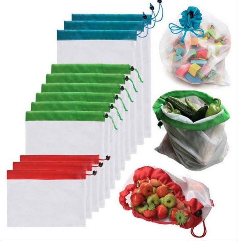 Hot Environmental Washable Storage Mesh Bag Handbag Foldable Shopping Bags Reusable Folding Grocery Nylon Eco Tote Bag