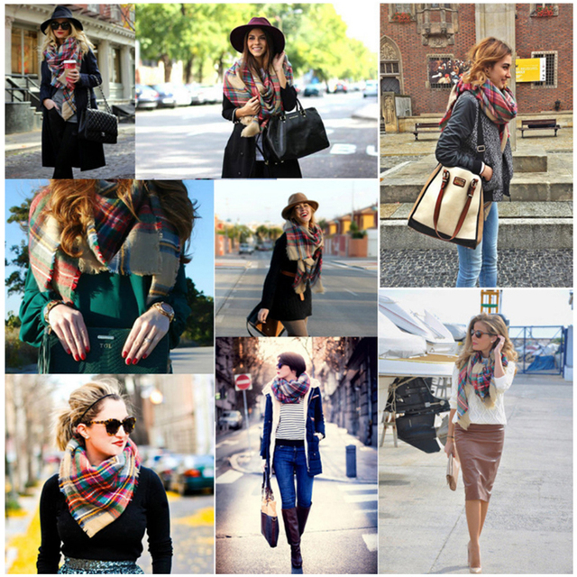 Fashion Winter Scarf For Women Scarf Cashmere Warm Plaid Pashmina Scarf Luxury Brand Blanket Wraps Female Scarves And Shawls