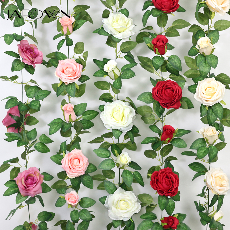 JAROWN Artificial 2m Multi Flower High Quality Rose Vine Fake Flower European Rose Home Wall Hanging Rattan Wedding Decor Flores image