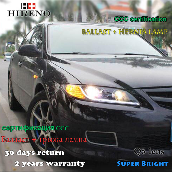 Hireno Headlamp For 2006 2012 Mazda 6 Mazda6 Headlight Assembly LED DRL Angel Lens Double Beam