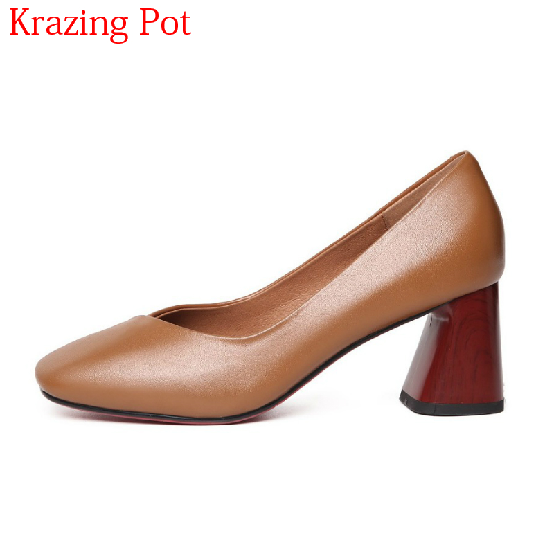 2018 Fashion Superstar Genuine Leather Streetwear Thick Heels Office Lady Shallow Gladiator Women Pumps Runway Wedding Shoes L03 new genuine leather superstar solid thick heel zipper gladiator women pumps pointed toe office lady nude runway casual shoes l88