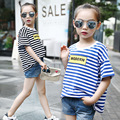 2017 Children Brand T-shirts Korean New Summer Girl Striped Short Sleeved T-shirt Printing Clothes Kids 5 9 12 Years Girls T