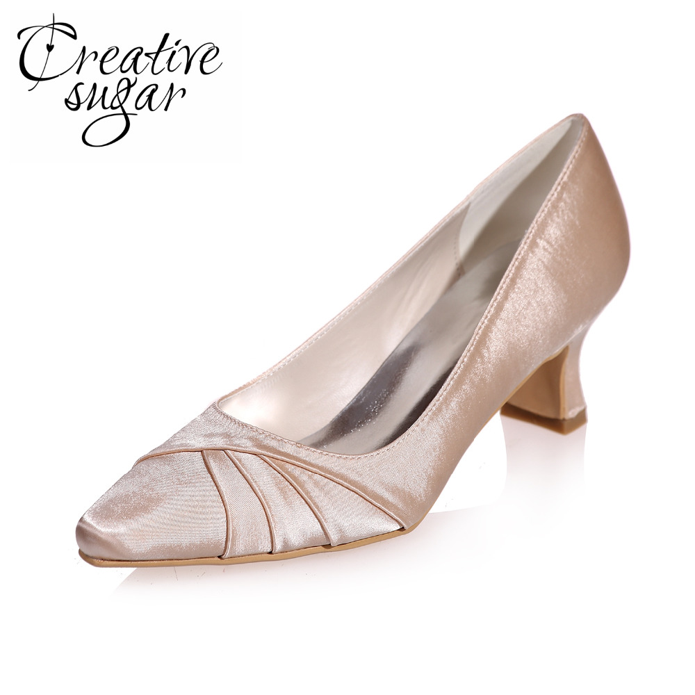 Creativesugar Hoof heel ponted pleated toe satin evening dress shoes med low heel wedding prom party pumps event blue champagne comfortable satin dress shoes hoof heel bridal wedding party prom evening pumps mid heel red royal blue champagne white ivory
