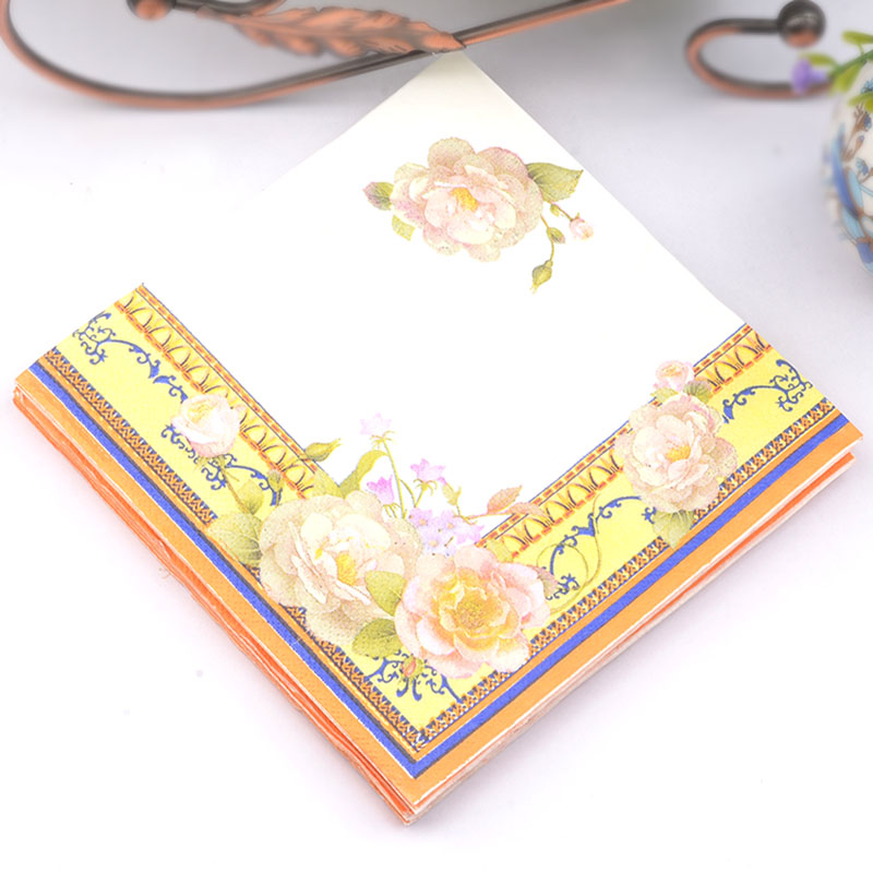 New 20pcs/lot Yellow riches flower paper Napkin wedding napkin table dinner paper Tissues wedding party supplies