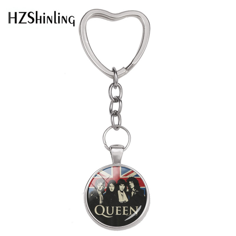 Hot Fashion Pop And Rock Queen Band Photos Glass Dome Silver Jewelry Heart Star Round Keychain Hand Craft  Queen Logo Keyring