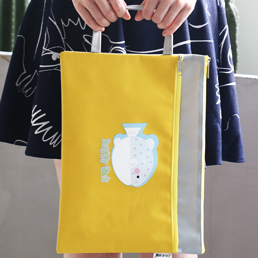 Kawaii Cartoon A4 Handbag Double-layer File Folder Paper Document Storage Bag Waterproof Stationery Portable Animal Zipper Bags