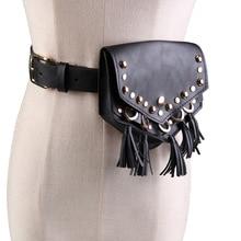 LaMaxZa Női Waist Packs Szegecs deréktáska Női pénztárcák PU bőr Mini táskák Csíkos Flaps Ladies Travel Belt Money Holder Black