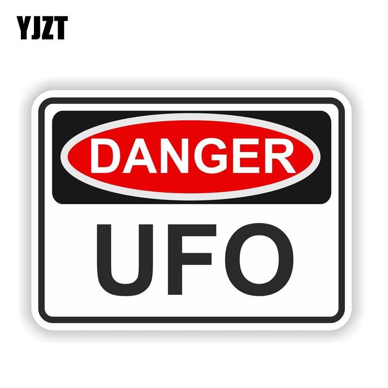YJZT 12.9CM*9.5CM Warning DANGER UFO Car Accessories Funny Bike Car Sticker 6-1583