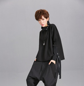 Image 5 - [EAM] Loose Fit Black Ribbon Split Sweatshirt New High Collar Long Sleeve Women Big Size Fashion Tide Spring Autumn 2020 OA879