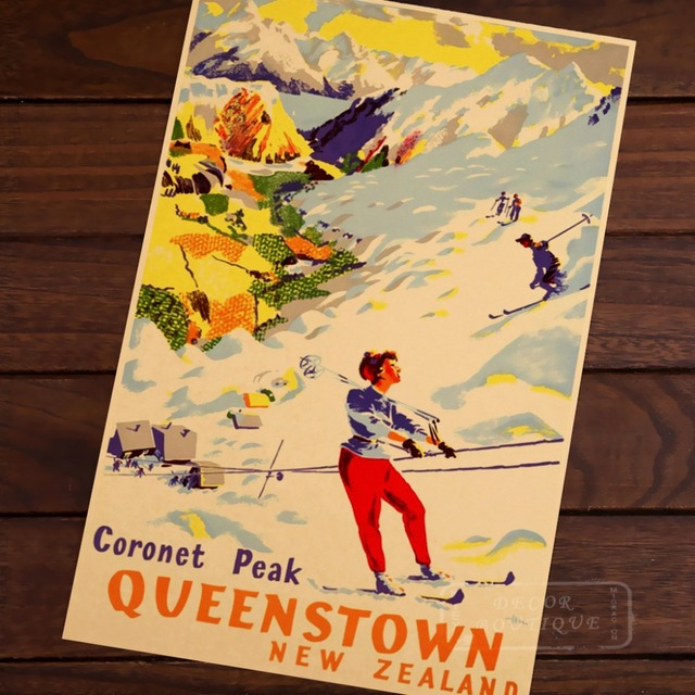 Coronet Peak Ski Ing New Zealand View Art Retro Vintage Canvas Painting Frame Poster Diy