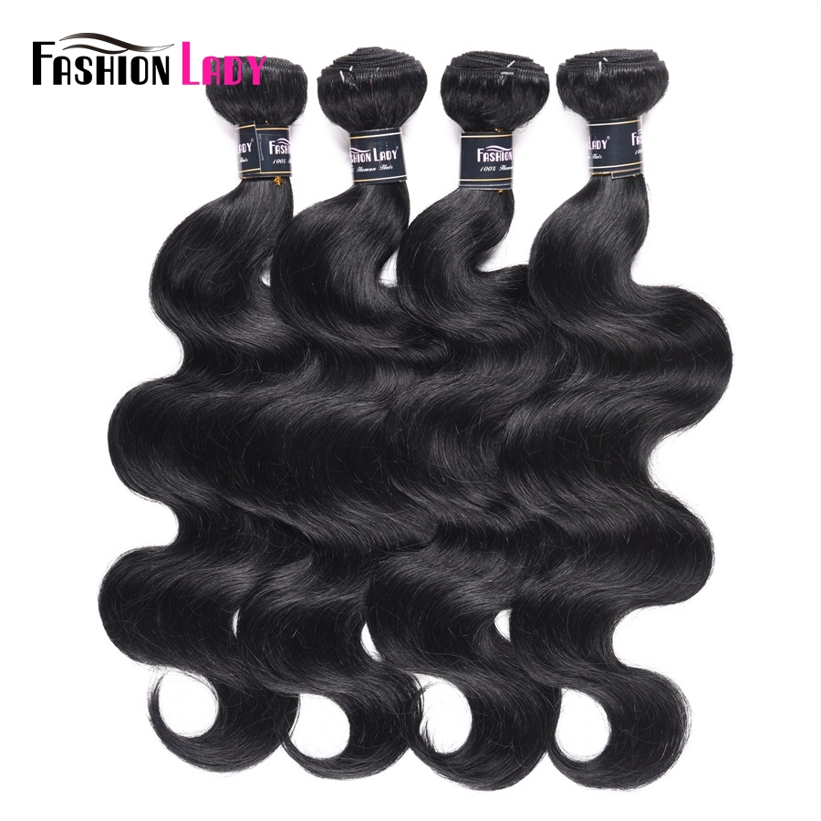 FASHION LADY Pre-Colored Peruvian Body Wave Bundles 4 Bundles Dark Black Human Hair Bundles 1# Hair Weaving Non-Remy