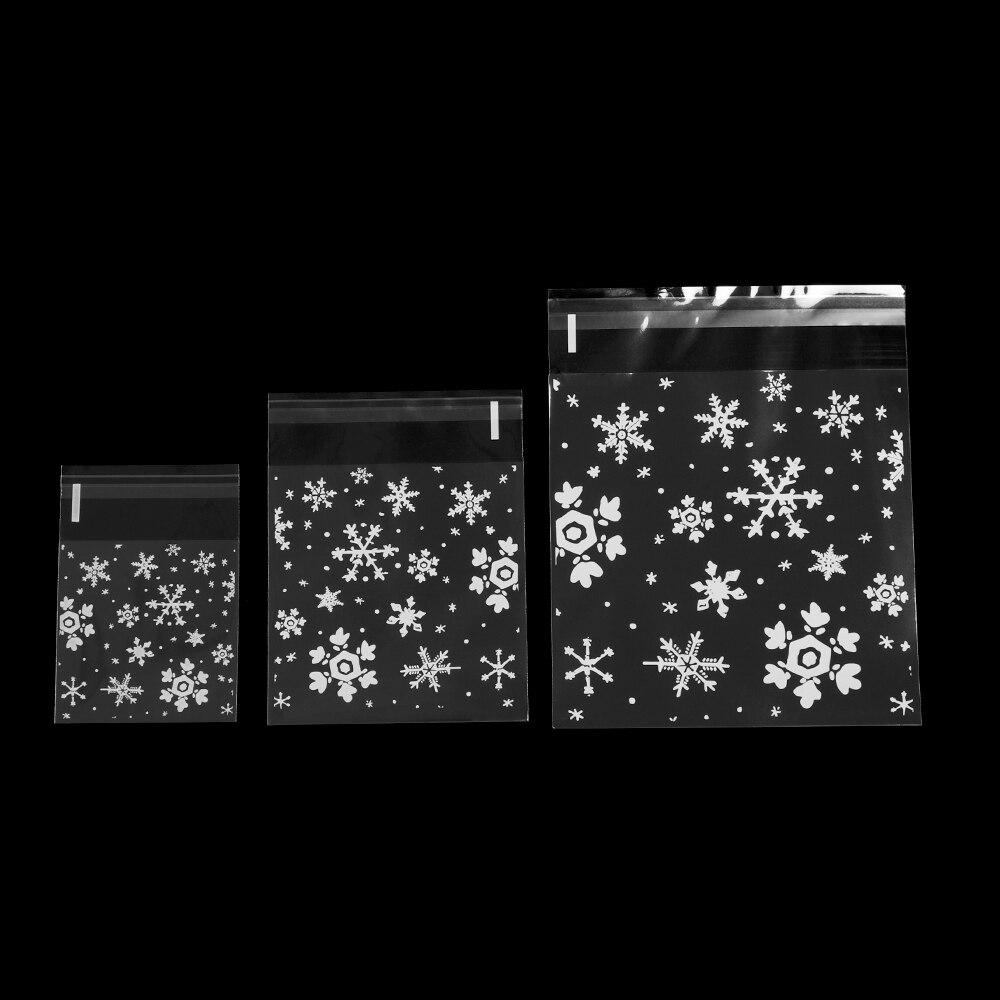 100pcs//set Transparent Christmas Snowflake Bags Self-adhesive Cookie Food Bag