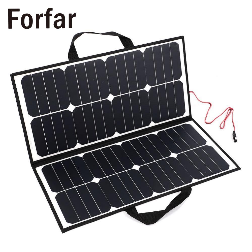 Forfar 50W 18V Solar Power Panel Portable Outdoor Folding Solar Panel Bank Board Charger For Battery 12w dual usb folding solar charger solar panel module power bank outdoor emergency cell phone charger voltage current display