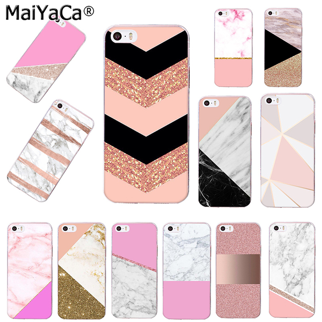 lowest price 37a65 7414e US $1.09 58% OFF|MaiYaCa pink Rose Gold Marble transparent soft tpu phone  case cover for iPhone 8 7 6 6S Plus X 5S SE 5C xs xs max Cases funda-in ...