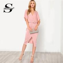 Sheinside розовый v-образным вырезом Twist Front Dress плотная V шеи Высокая Талия платье с средним рукавом 2018 Лето Для женщин офисные элегантное платье