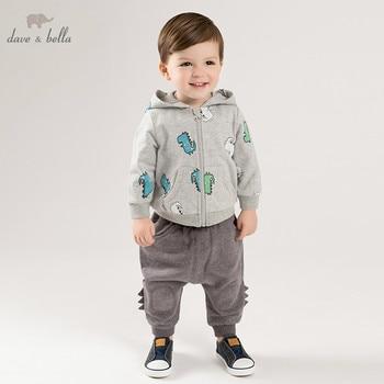 DBJ9903-1 dave bella spring infant toddler baby boys fashion sets kids long sleeve clothing sets children 2 pcs suit
