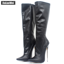 Fashion Europe America Style Knee-High made PU Patent Leather Extreme Thick High Heel Boot Women Knee High Zip Sexy shoes cheap jialuowei zipper Solid BM-4855 Adult Thin Heels Basic Pointed Toe Spring Autumn Boots Rubber Super High (8cm-up) Fits true to size take your normal size