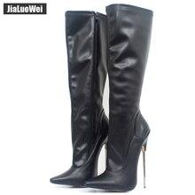 موضة أوروبا أمريكا نمط الركبة عالية صنع بولي Patent براءات الاختراع والجلود المتطرفة سميكة عالية الكعب التمهيد النساء الركبة عالية البريدي أحذية مثيرة