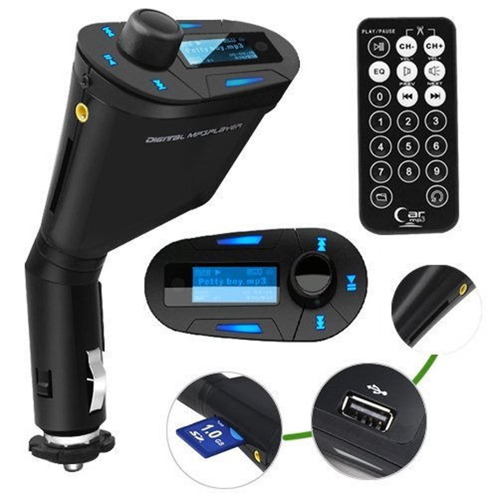 Hot Sales Wireless Fm Transmitter Lcd Car Kit Mp3 Player Radio Circuit Board Manufacturefm Stereo Modulator Usb Sd Mmc U Disk Remote Control Blue