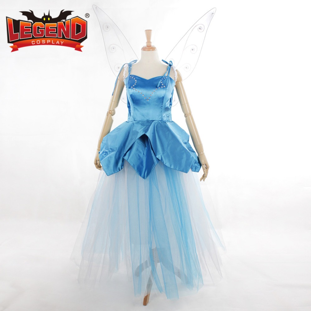 Tinkerbell Dress Costume Adult princess Tinker Bell blue yellow dress with wings custom made