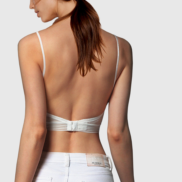 New Sexy Low Back Lace Bralette White Backless Bra dot mesh Ultra Thin Underwear Women Lingerie Sexy Tank Tops Bra 4