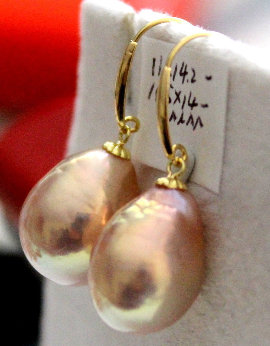 gorgeous 12-13mm south sea baroque gold pink pearl earring 14kgorgeous 12-13mm south sea baroque gold pink pearl earring 14k