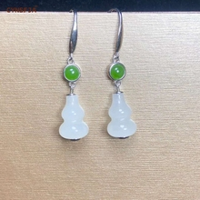 Nephrite Xinjiang Hetian Jade Earrings Women 925 Silver Certified Natural Hetian White Jade High Quality Hand-carved Lucky Gifts