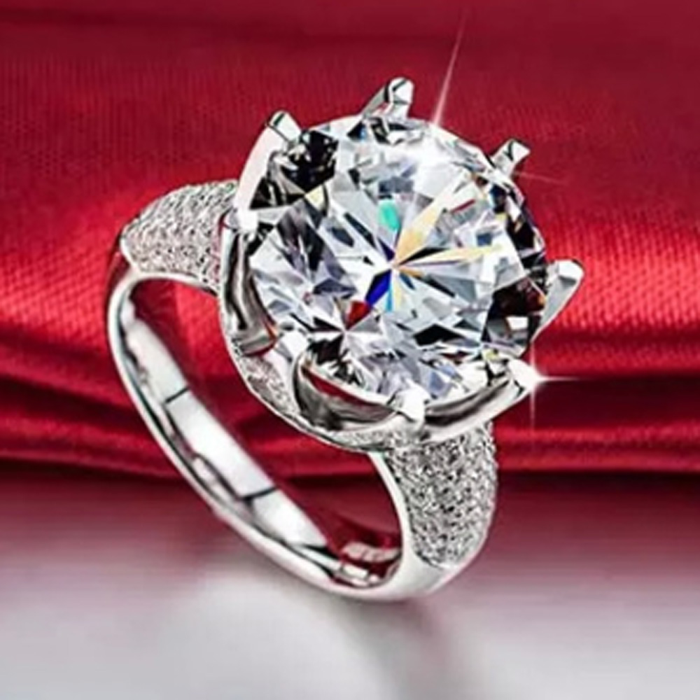 YaYI Jóias 7.9 CT do Corte Da Princesa Zircão Branco Anéis de Cor Prata Anéis de Noivado Anéis de casamento Do Coração Partido Das Meninas Presentes 871
