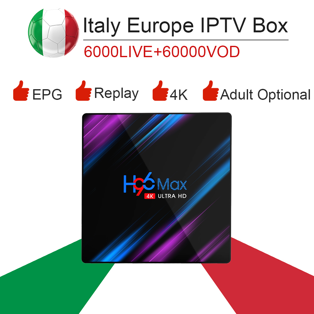H96 max RK3318 Android 9.0 smart tv box&italy super iptv subscription Germany Albania Turkey bein sport netflix ExYu adult iptv